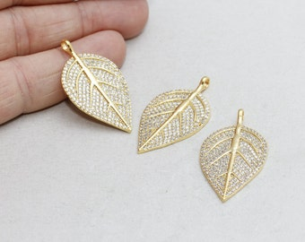 22k Micro Pave Leaf , Leaf Necklace, Cubic Zirconia Leaf , Leaf Necklace, Cz Jewelry, zrcn200