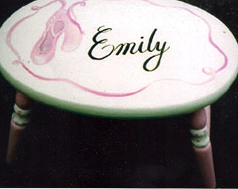 oval ballet step stool, hand painted step stool, girls step stool, ballet slippers