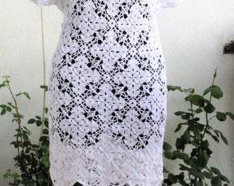 Dress Crochet  Crochet Dress White Dress  Women White Lace Dress  Handmade Dress Crocheted Dress