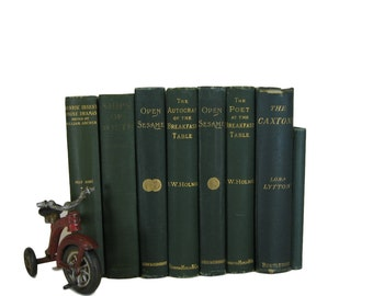 Green   Antique Books , Antique Book Bundle ,  Decorative Books , Wedding Prop , Photo Prop ,  Vintage Books , Old Books