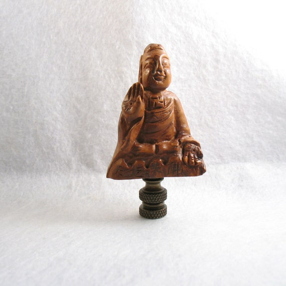Lamp Finial Carved Wooden Buddha. Asian Style Lampshade Topper