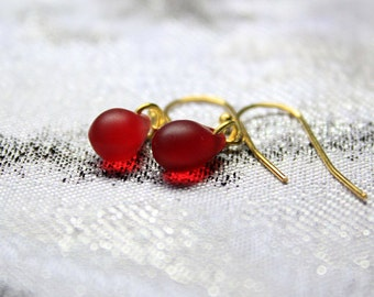 red earrings 14k gold jewelry red dangles simple earrings/for/women gold red gift/for/her dainty earrings teardrop jewelry wife gifts пя165
