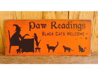 """Paw Reading Sign, 5"""" x 12""""  Hand Painted Wood Sign, Cat Halloween Sign, Fall Decoration, Autumn, Cats, Witch, Halloween Party, Black Cats"""