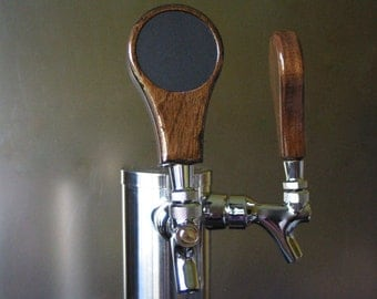 Beer tap handle with inset chalkboard, 4 inches tall, Walnut