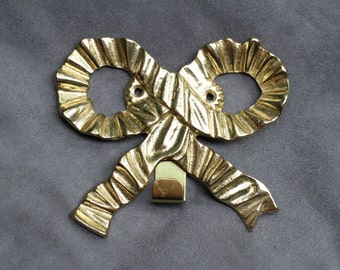 Brass Bow Hook, Brass Ribbon Wall Decor, Nursery Decor Kids Room, Bow Shaped Brass Hanger, Unused Brass Hook W/Screws