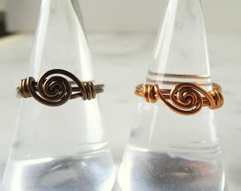 Modern boho ring - scroll ring - bronze ring - hypoallergenic ring - Nickel free ring - metalwork ring - hand made ring - bohemian ring - UK