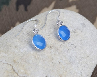 Blue chalcedony earrings, sterling silver gemstone, drop earrings, gift for her, minimalist earrings, blue earrings