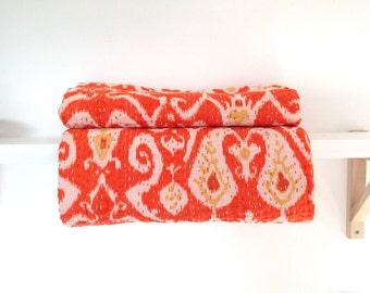 Traditional handmade Indian ikat print kantha quilt - Orange