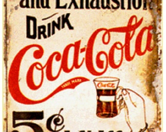 Vintage Coca Cola Ad Reproduction Print, This  Coca Cola Poster print is Perfect for the Kitchen Wall Decor or Home,Mancave