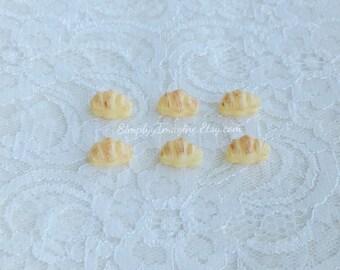 Croissant Mini Pastry Bread Bun Miniature Food Cabochon Resin Flatback - 6 PCS