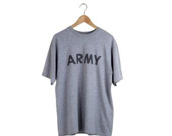 GREY ARMY TEE / army tshirt / gray army shirt / minimal / big font / vintage / mens / xl