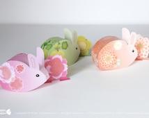 Easter Bunny favor box Printable, 3 cute sakura - cherry blossom - bunnies, rabbits, Easter party gift box & decor, spring celebration, DIY