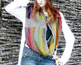 Knit infinity scarf Cowl neck Scarves for women Scarf styles Cowl scarf Rainbow fashion scarf Unique gifts Gift ideas for women Neck warmer