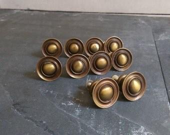 Brass Drawer Pulls/ Vintage Round Brass Pulls/ Small Brass Knobs/ Round Cabinet Pulls/ Vintage Brass Pulls/ Brass Knobs