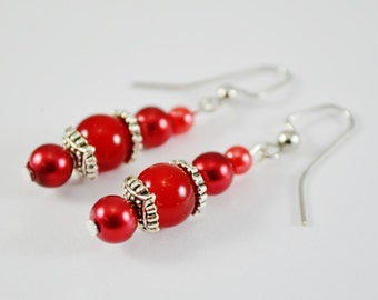 FREE SHIPPING, red christmas earrings, red silver earrings, ruby red earrings, Christmas earrings, red pearl earrings, red pearl dangles