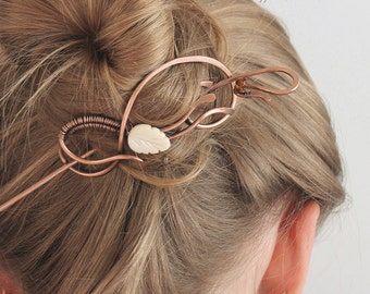 Copper Hair Slide with Mother of Pearl Leaf, Hair Clip, Hair Stick, Wire, Hair Pin, Hair Barrette, Artistic Hair Accessories Women Gift