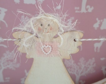 Angel Fairy Bunting Garland, Wooden Angel Fairy Decoration, Baby Shower, Pink White Nursery Decor, Childrens Bedrooms, Girls Birthday gift
