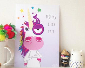 Funny unicorn art print 'resting bitch face' bright wall decor, christmas gift for daughter, niece, friend
