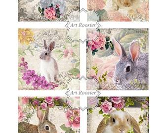"5x5"" EASTER BUNNY Cards Easter Digital Scrapbook Paper Craft Digital Download Digital Images Printable Gift Tags Digital Collage Sheets"