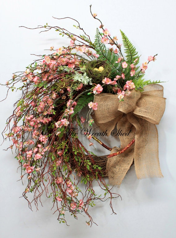Unique Peach Blossoms Large Spring Wreath Country Summer