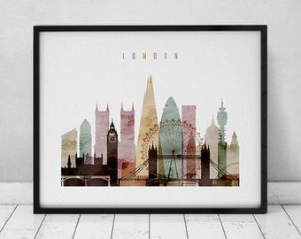 London watercolor print, watercolor poster, Wall art, London skyline, cities poster, typography art, digital watercolor, ArtPrintsVicky.