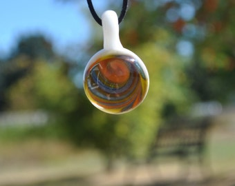 Orange Spiral Pendant with Necklace