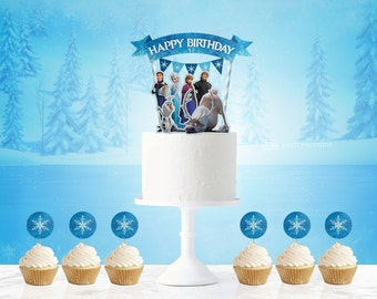 frozen cake topper, Frozen, frozen birthday, frozen birthday party, frozen birthday decorations, frozen birthday banner, frozen banner