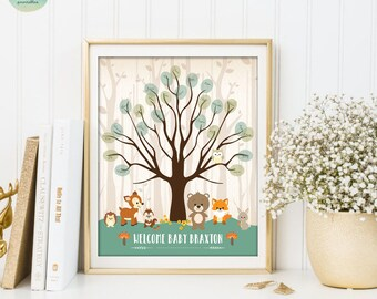 THUMBPRINT GUESTBOOK Printable Sign. Woodland Baby Shower. Fingerprint Sign In. Thumbprint Tree. Forest Animal Welcome Sign. Keepsake WOOD1