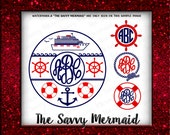 Cruise Ship Monogram Set - Vacation Carnival SVG - Nautical Monogram Frame Svg files- Silhouette Cameo, Cricut- Cut file, Iron On, HTV vinyl