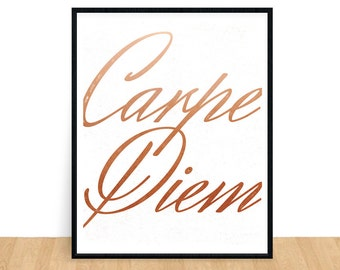 Carpe Diem Print, Seize the Day, Printable Quotes, Gold Print, Typography Print, Office Art, Life Quotes, Inspirational Gift, Printable Art