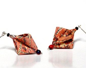 Origami earrings LONDON 1923 city map umbrella vintage travel guide