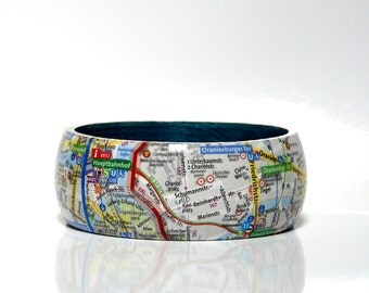 Bangles BERLIN center city map upcycled paper