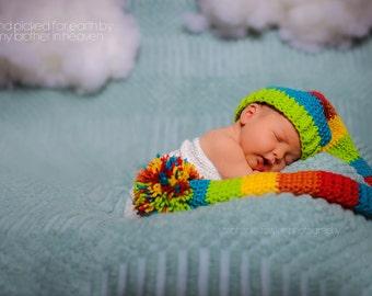 Long Tail Hat, Rainbow Long Tail, Newborn Long Tail, Newborn Elf Hat, Rainbow Baby Hat, Baby Rainbow Hat, Rainbow Baby, Newborn Photo Prop
