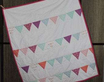 Baby Girl Handmade Multicolor Bunting Quilt of Pinks, Purples, and Teals; Girl Toddler Bunting Quilt