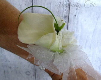 Calla lily wrist corsage, White wedding corsages, Mother of the bride corsage, Prom corsage