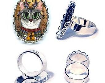 Bast Cat Ring Goddess Egyptian Cat Bastet Siler Cat Ring Fantasy Cat Art Cameo Ring 25x18mm Gift for Cat Lovers Jewelry