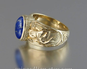 Guardian Angels Mens 14K yellow gold Ring with Lapis Lazuli