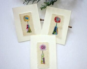 fabric scrap flower note card set, fabric scrap flower notecards, sewn fabric flower applique greeting cards,sewn stitched fabric card set
