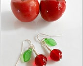 Cherry Earrings - Rockabilly Cherry Earrings - Cherry Jewelry - Cherry Chick - Fruit Earrings - Glass Cherry Earrings