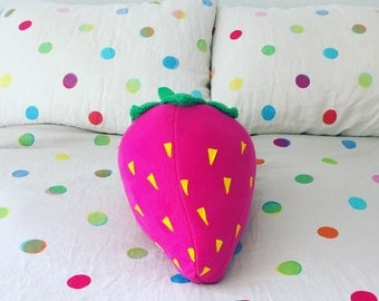 Hot Pink Strawberry Pillow - Pop Art Berry Cushion for Fruity Naps