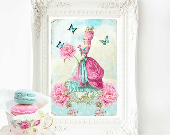 Marie Antoinette French art print, pink hair, French country decor, A4 giclee