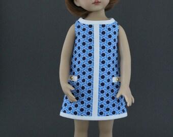 Blue Mod dress and headband set designed for Dianna Effner Little Darlings dolls by Matilda Pink
