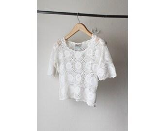 1990's Crochet Lace Top