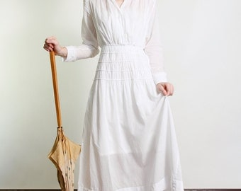 SALE - 1910s Edwardian Gown . White Cotton Dress