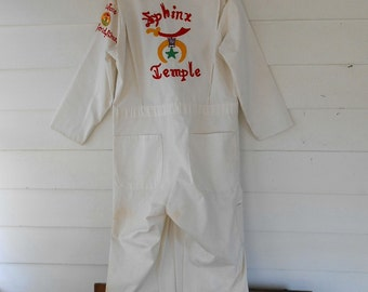 Masonic EMBROIDERED Coverall SPHINX TEMPLE Vintage 1970's Masons Coverall Hot Rod Garage Coverall Steampunk Cosplay Clubwear Jumpsuit