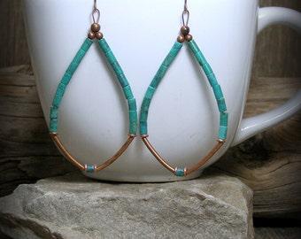 Turquoise Earrings, Hoop Earrings, Long Dangle Earrings, Southwest Jewelry, Tribal Jewelry, Bohemian Earrings, Heishi Beaded Earrings, Boho