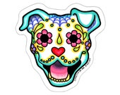 Day of the Dead Smiling Pit Bull Sticker - Sugar Skull Happy Dog Decal