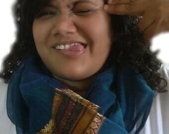 Bohemian Scarf, Teal Blue Indian Cowl, Lightweight Cotton Sari Saree Scarf, Hippie Scarf, Blue Scarf, Gypsy Saree Scarf, Boho Summer Scarf
