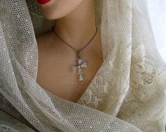 Cross Necklace Vintage Jewelry AB Rhinestone Sterling Silver Glass 925