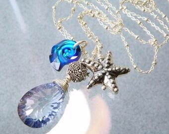 Blue Topaz Necklace, Beach Theme Necklace, Mystic Topaz, Gemstone Briolette, Hill Tribe Starfish Necklace, Beach Babe Heirloom Jewelry